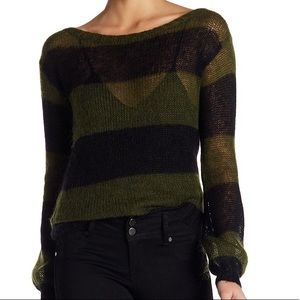 Billabong Boatneck Crew Striped Army Knit Sweater